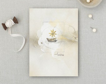 Welcome Little One | Baby | Birth | Congratulations | New Parents | Love | Artsy Card | 5x7 Greeting Card