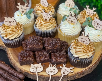 Baby Forest Animal Cupcake Toppers | Wooden Animal Toppers | Baby Shower Decor| Bear Bunny Deer