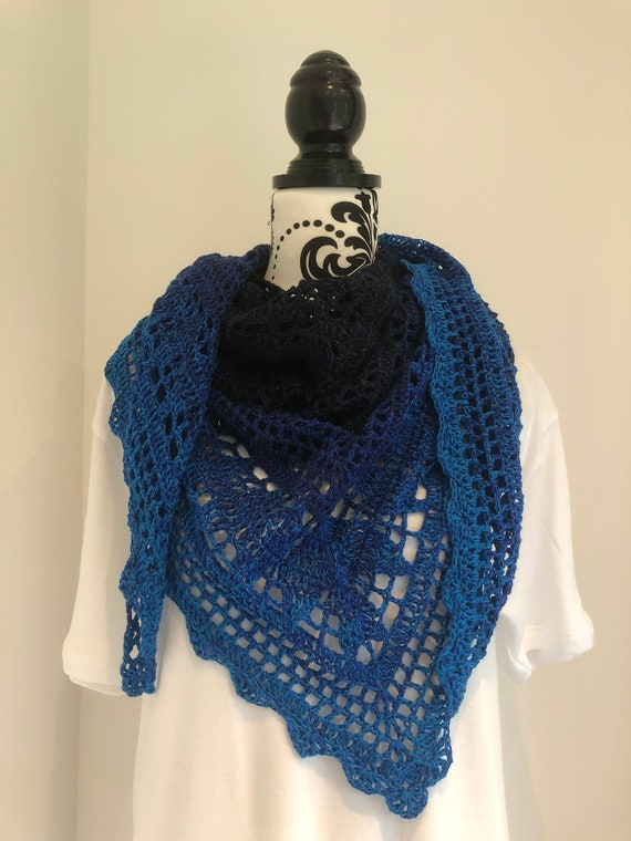 Glittering Blue Sea Shawl