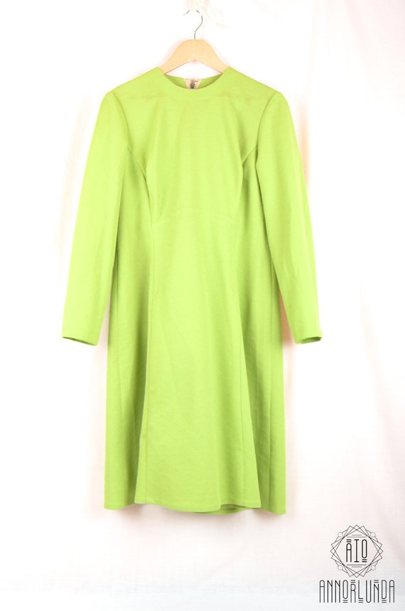 80s Vintage Lime Dress, Romanian made, tailored