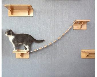 Wooden Cat Climber, Wooden Cat Wall Steps, Wall Mount Cat Perch, Cat Climber Tree Shelf, Cat Bridge Ladder, Cat Furniture, Cat Stairway