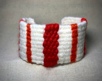 Handwoven Cuff Bracelet in White, Flame Red and Tangerine with Button Clasp - Great Gift - Unique - Hand Made