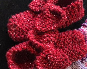 Big Bow Baby Booties - Hand Knitted - Lots of Colours - Ruby Baby Slippers - Handmade - Made to Order - Baby Shower - Shower Gift