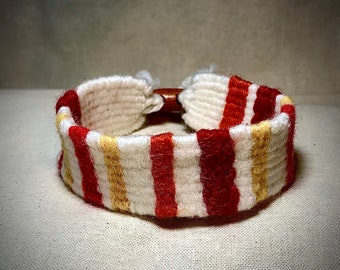 Handwoven Bracelet in Warm Spring Colours - Hand Made - Unique - Textile Jewellery - Great Gift
