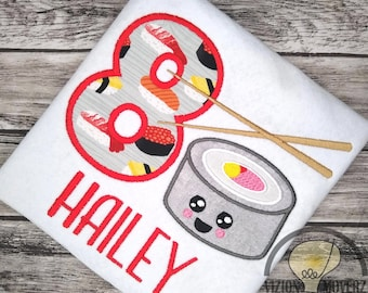Personalized Embroidered Sushi and Chopsticks Birthday Shirt