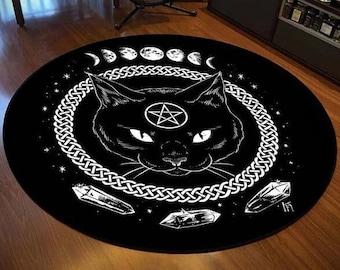 Occult Gothic Black Cat Circular Mat-Goth Black Cat Decor- Halloween Home Decor- Halloween Skull Cat Rug- Black Cat Rug