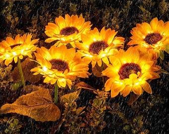 Outdoor Sunflower Solar LED Lighting, Garden Decorative Lights, Waterproof, Lawn Decor Outdoor, Garden Stake Flower