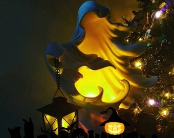 Halloween Faceless Ghost Sculpture,Hell's Messenger with Lantern,The Ghost Looking for Light Statue,Outdoor Indoor Halloween Decoration