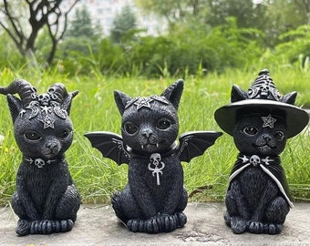 Gothic Cat Ornament, Cat Halloween Lawn Gnome, Halloween Decorations Outdoor, Vintage Halloween Decorations, Horror Statue