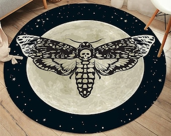 Death Moth Area Rug/ Gothic Skull Round Floor Mat/ Butterfly Moon Living Room Carpet/Polyester Rug Mat