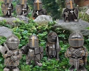 Knight Dwarf Guard Sculpture Gardening Statue,Dwarf Gnome Statue,Outdoor Goblin,Soldier Guard Figurine Armor Sculpture,Resin Gnome Figurine