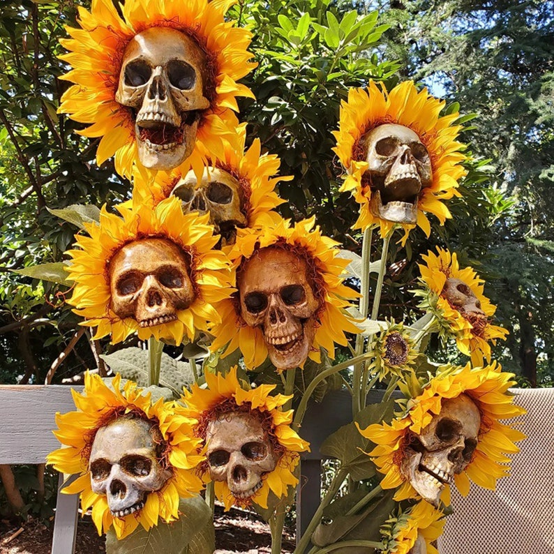 Sunflower Skull Garden Ornaments Yard decoration Garden image 1