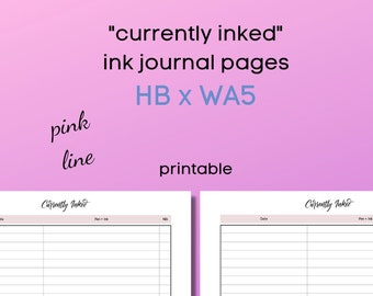 currently inked - ink journal - HBxWA5 - minimalistic - pink line -  for ringbound or discbound planners - printable