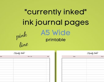 currently inked - ink journal - A5 wide - minimalistic - pink line -  for ringbound or discbound planners - printable