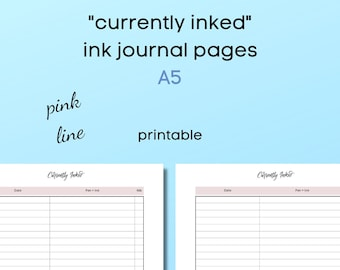 currently inked - ink journal - A5 - minimalistic - pink line -  for ringbound or discbound planners - printable
