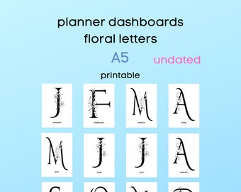monthly dashboards - undated - A5 - monthly letters - floral design - minimalistic design - for ringbound or discbound planners - printable