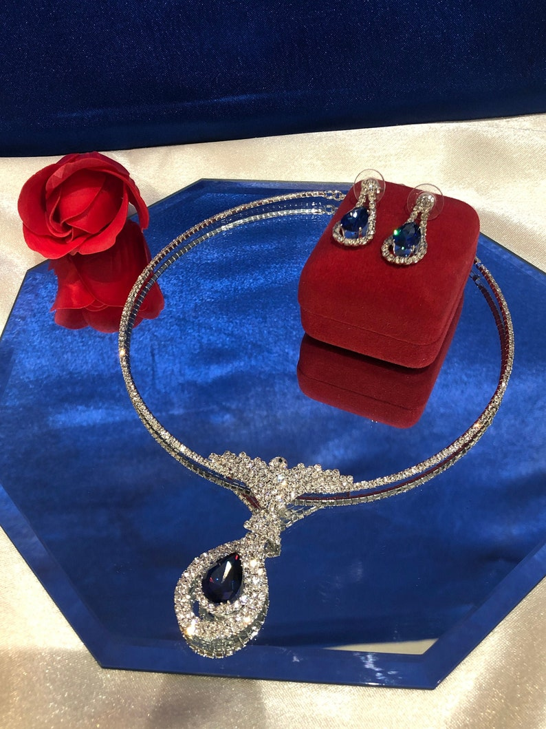 White rhinestone necklace and earrings sapphire blue stoneGoutteBijouxPendentifEveningMarriageCeremonyAccessory