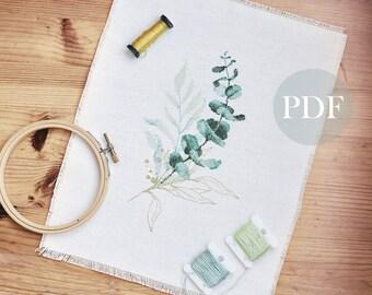 Eucalyptus cross stitch pattern PDF, Botanical embroidery, watercolor cross stitch
