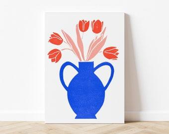 Linocut Tulips - 21x29,7 cm