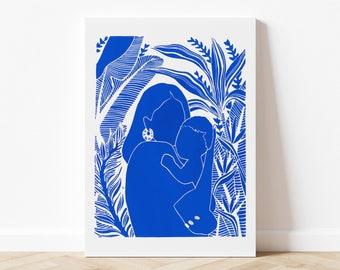 Linocut Nugget Blue Klein