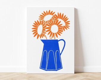 Linocut Sunflowers 21 - 21x29,7 cm