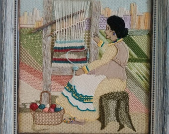 The Handloom Lady: Woman working on the loom. Hand embroidery with wood frame
