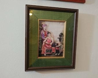 Thai Women with Child  Hairdo Gorgeous Art Vintage Framed 3D Carve Paper Art
