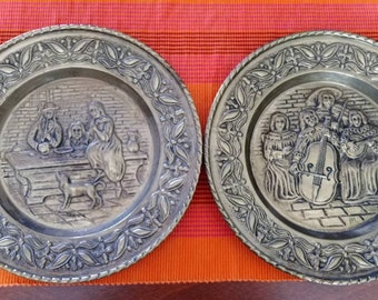 Set of 2 Brass Plates Made in Holland Vintage Embossed