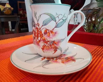 Australian Wildflower Collection Porcelain Cup Saucer with Botanical Illustrations by Philippa Nikulinsky for the Species Survival Trust