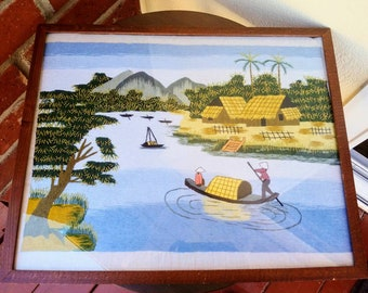 Needlepainting Hand Embroidery River Mountain Boats Serene Framed Gift for someone who loves boating, calm surrounding wall hanging