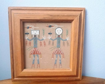 Sandpainting of Yei Female Male Navajos Rituals for a sick person Framed Wood Man Woman Indigenous people Vintage Native American art