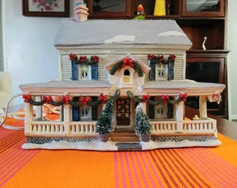 Christmas House Mansion Lit Home for Holiday season with Light Building, Multicolor, Snow Village