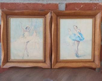 Ballerina Painting Print Framed Wood Set of 2  European Art Ballerina Dancer Signed by Pal Fried Hungarian Artist Vintage
