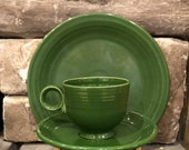 1951-1959 Vintage Fiesta-ware 3 pc Forest green setting. Rare only a nine year production run