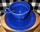 1936-1951 Vintage cobalt blue Fiesta teacup and saucer set.