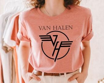 Van Halen T Shirt Concert 2X Black Distressed Faded Sun Bleached Crackled Logo Hard Rock Heavy Metal Pasadena California Band