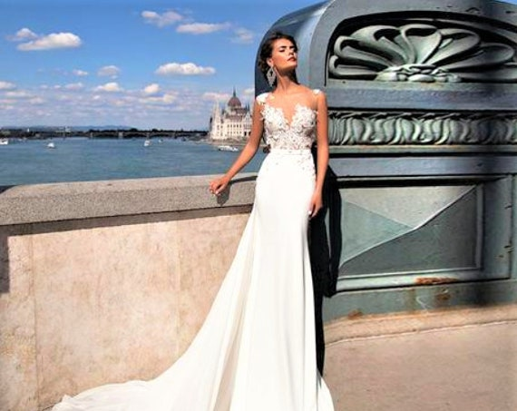 The Goddess Lace Sheath Wedding Gown