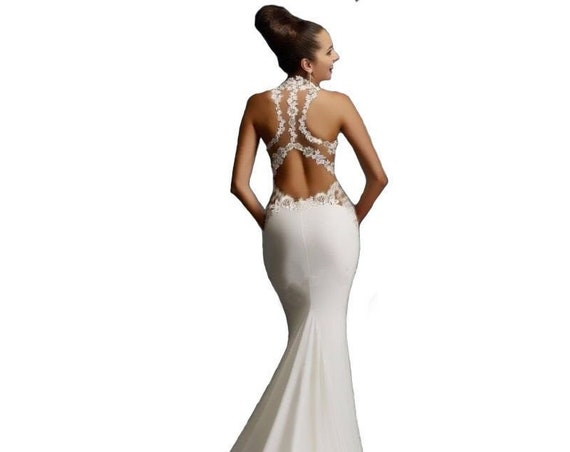 The Knit and Netted Halter Evening Gown