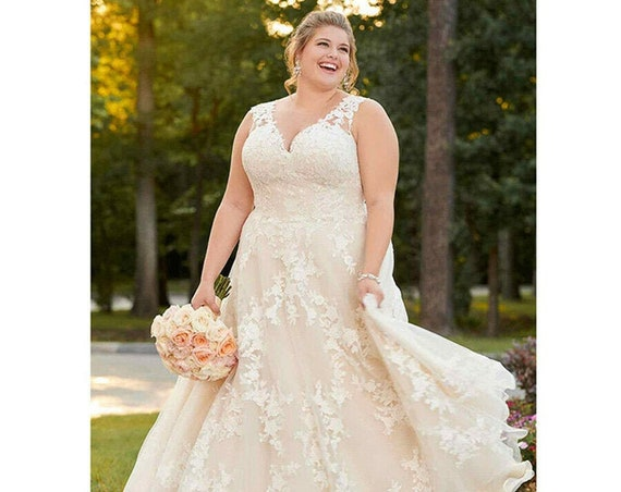 The Helena Lace Appliqued Wedding Gown