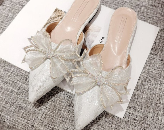 The Flat Appliqued Lace Bridal Slip-On