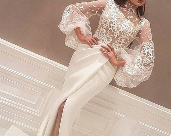 The Petite Sheer Lace Puff Sleeved Wedding Gown