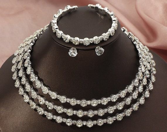 The Cleopatra Bangle Three Tiered Necklace Set