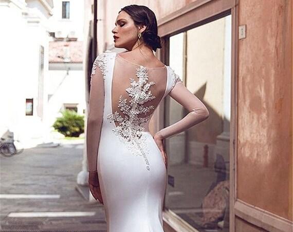 The Long Sleeved Zuzzana Sheath Wedding Gown