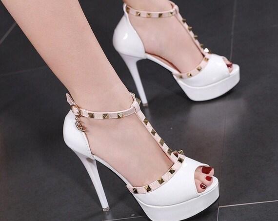 The Studded Peep-Toe Bridal Shoe