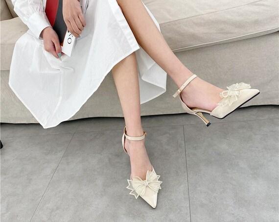 The Mid-Heel Rhinestone Bow-tie Bridal Shoe