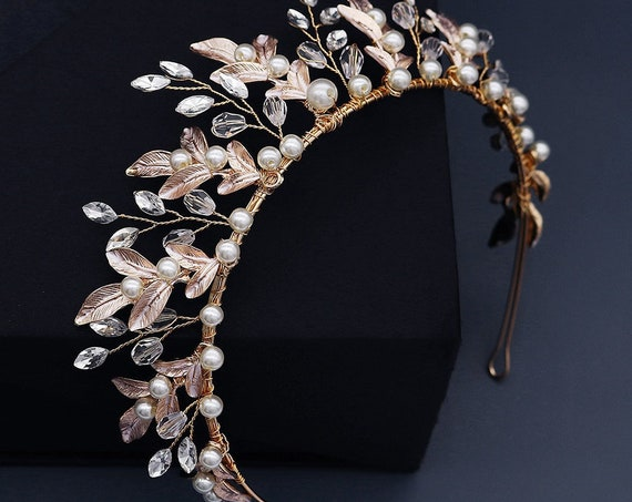 The Rose Gold Crystal and Pearl Bridal Tiara