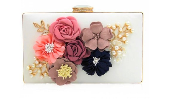 The Shimmering Soft Leather Appliqued Clutch