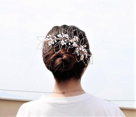 The Rose Gold Flower Petal Bridal Hair Piece