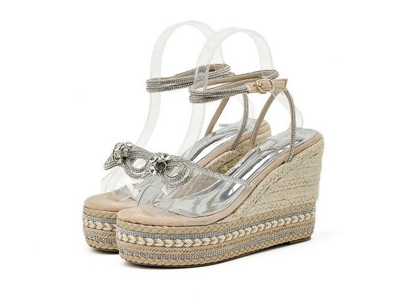 The Natural Beige Rhinestone Bridal Platform Shoe
