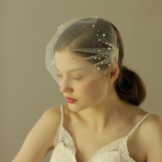 The Pearl Beaded Tulle Bridal Veil